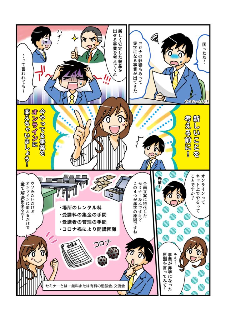 オンラインサロン制作サービス紹介漫画 1ページ目